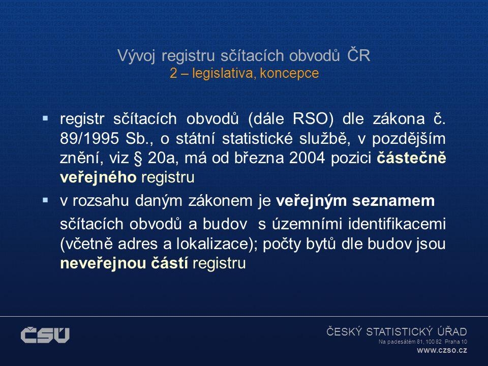 ČESKÝ STATISTICKÝ ÚŘAD Na padesátém 81, 100 82 Praha 10 www.czso.cz Vývoj registru sčítacích obvodů ČR 4 – aktualizace registru  Aktualizace registru: administrativní zdroje UIR-ZSJ (do úrovně ZSJ včetně dílů) – do března 2004 NEW nyní agenda převáděna do RSO ISKN, katastrální mapy ZABAGED, administrativní hranice UIR-ADR (číselník ulic a VP, PSČ, orientační č.) vlastní zdroje STAV 4-99 a 7-99 NEW, BUD 2003/4, LOK 2003/4 geografická podpora statistických zjišťování u stavebních úřadů; doklady od úřadů obcí
