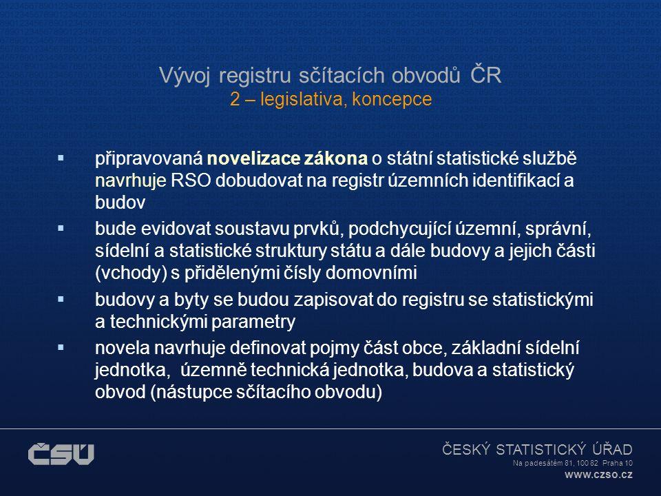 ČESKÝ STATISTICKÝ ÚŘAD Na padesátém 81, 100 82 Praha 10 www.czso.cz Vývoj registru sčítacích obvodů ČR 2 – legislativa, koncepce  registr sčítacích o
