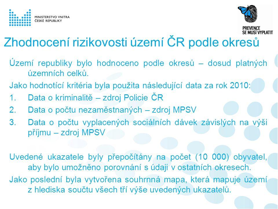 Zhodnocení rizikovosti území ČR podle okresů Území republiky bylo hodnoceno podle okresů – dosud platných územních celků.