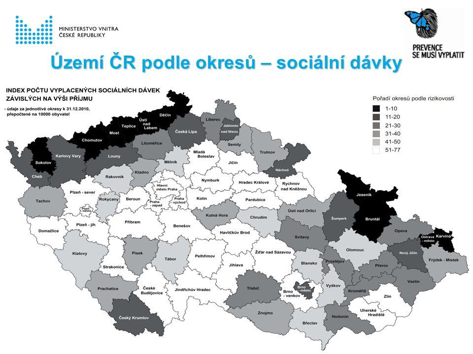 Území ČR podle okresů – sociální dávky