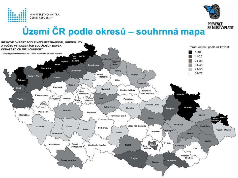 Území ČR podle okresů – souhrnná mapa