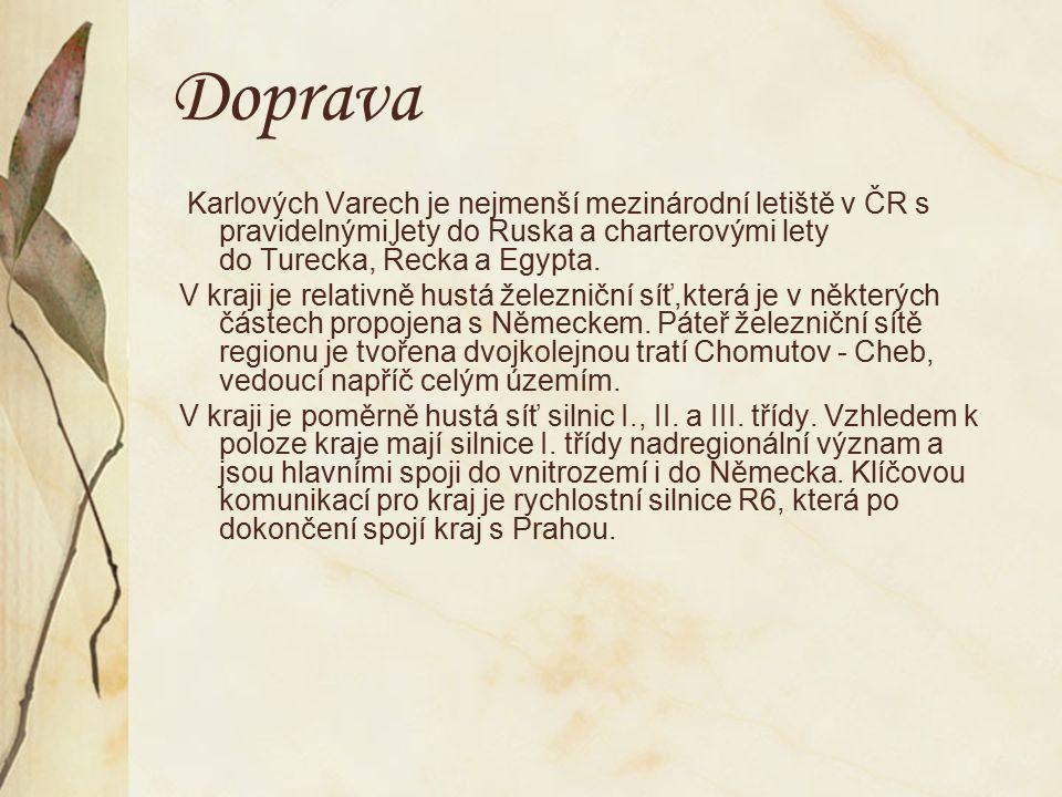 Doprava Karlových Varech je nejmenší mezinárodní letiště v ČR s pravidelnými lety do Ruska a charterovými lety do Turecka, Řecka a Egypta.