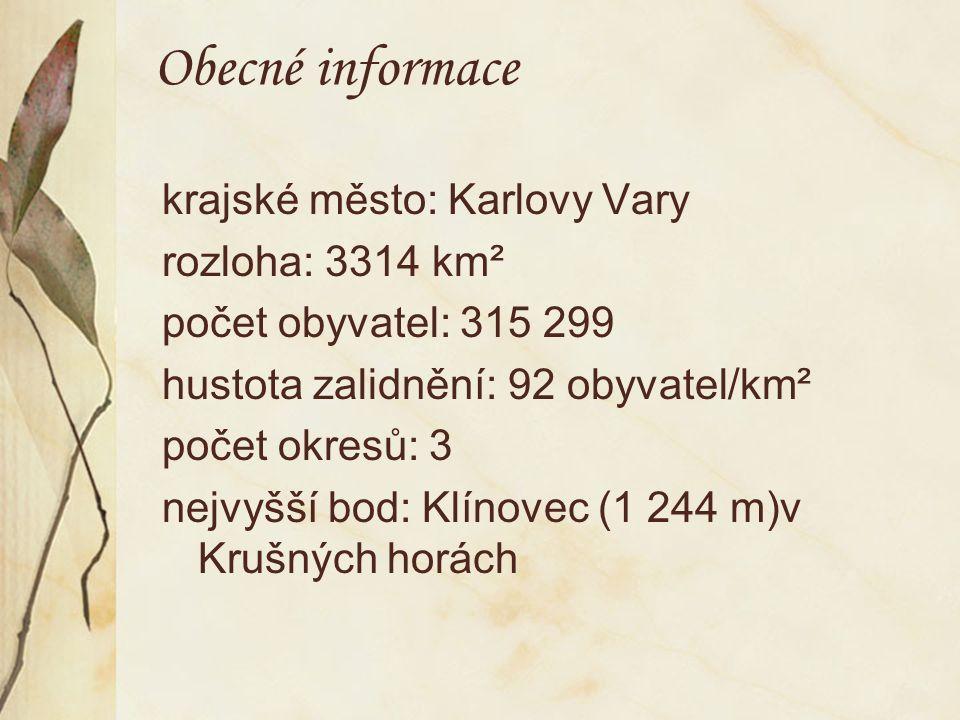 Obecné informace krajské město: Karlovy Vary rozloha: 3314 km² počet obyvatel: 315 299 hustota zalidnění: 92 obyvatel/km² počet okresů: 3 nejvyšší bod: Klínovec (1 244 m)v Krušných horách