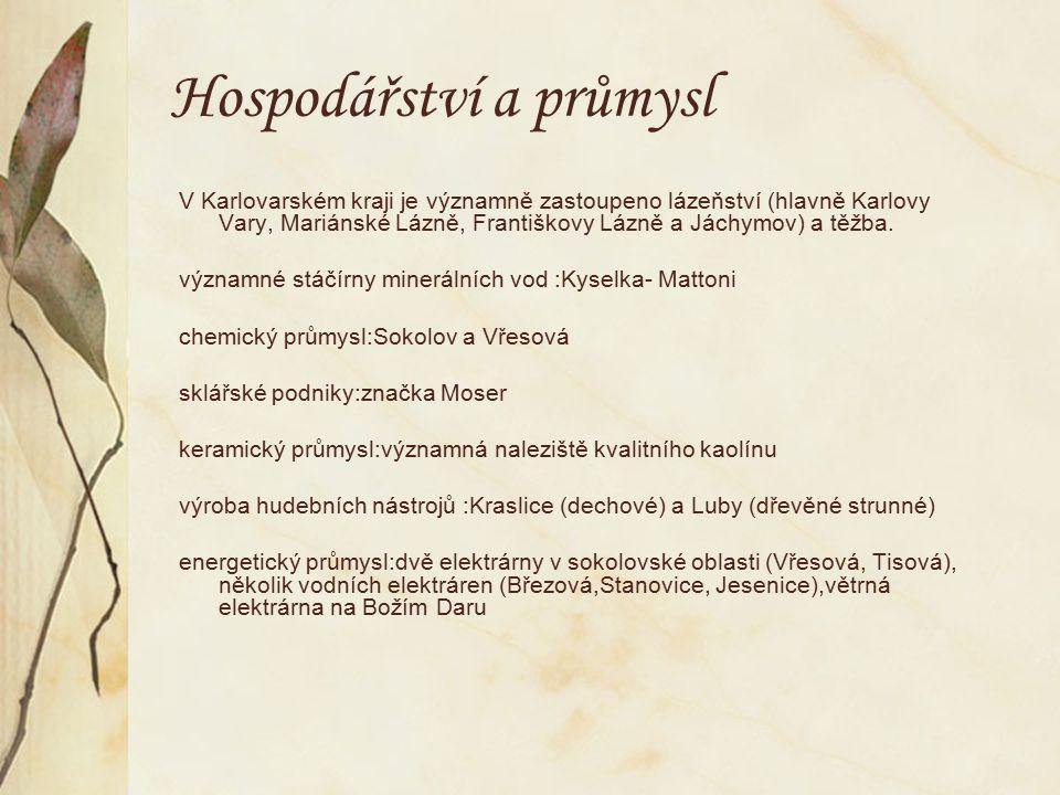 Významné společnosti likérka Becherovka-Karlovy Vary sklárna Moser-Karlovy Vary Mattoni-Kyselka dřevěné nástroje Cremona (později Strunal)-Luby dechové nástroje Amati-Kraslice