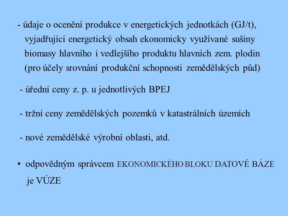 - údaje o ocenění produkce v energetických jednotkách (GJ/t), vyjadřující energetický obsah ekonomicky využívané sušiny biomasy hlavního i vedlejšího