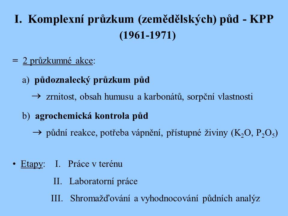 I. Komplexní průzkum (zemědělských) půd - KPP (1961-1971) = 2 průzkumné akce: a) půdoznalecký průzkum půd zrnitost, obsah humusu a karbonátů, sorpční
