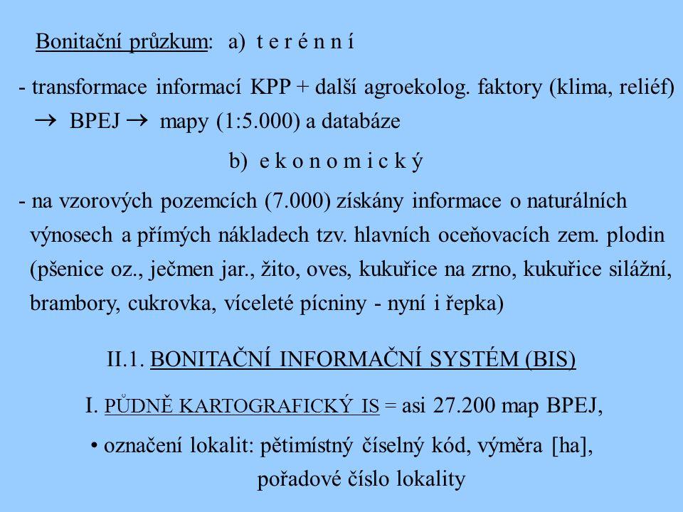 Bonitační průzkum: a) t e r é n n í - transformace informací KPP + další agroekolog. faktory (klima, reliéf) BPEJ mapy (1:5.000) a databáze b) e k o n