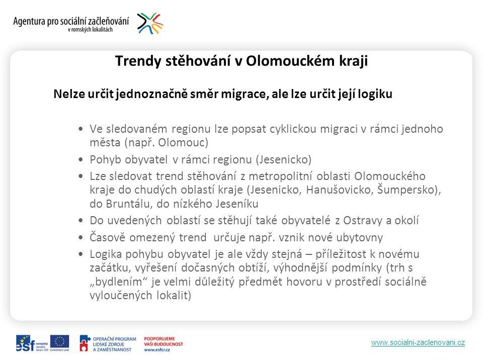 www.socialni-zaclenovani.cz Trendy stěhování v Olomouckém kraji Nelze určit jednoznačně směr migrace, ale lze určit její logiku Ve sledovaném regionu lze popsat cyklickou migraci v rámci jednoho města (např.