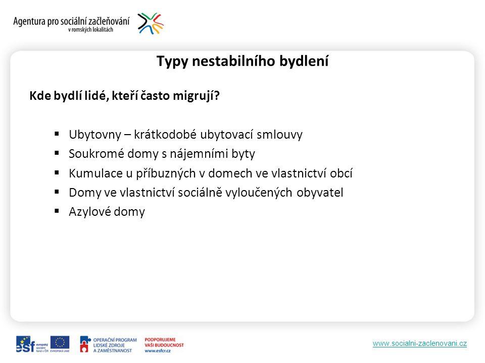 www.socialni-zaclenovani.cz Typy nestabilního bydlení Kde bydlí lidé, kteří často migrují.