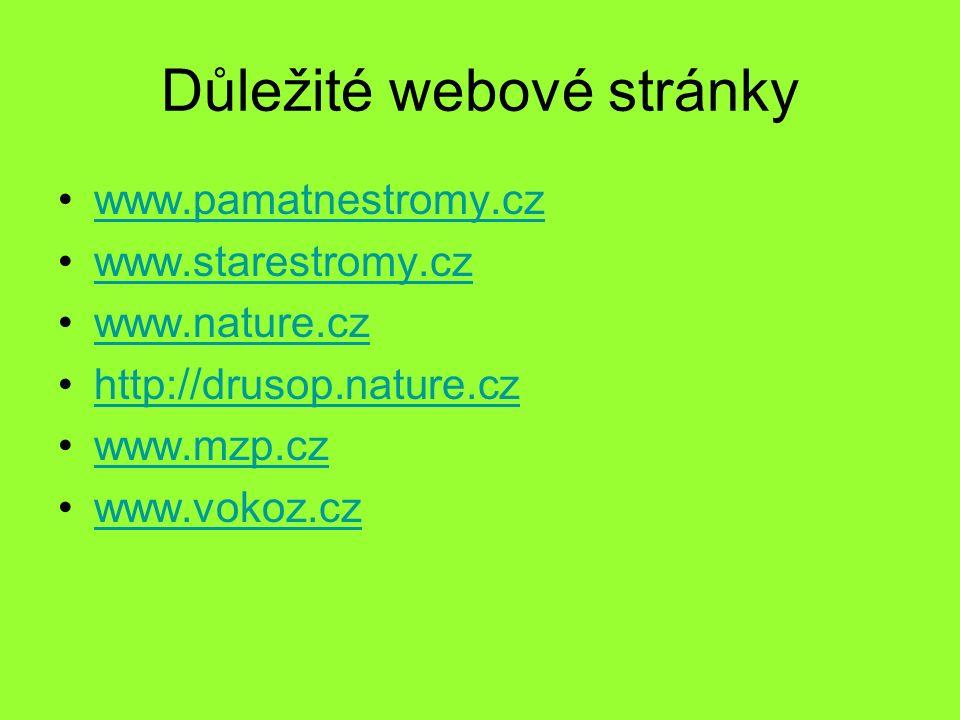 Důležité webové stránky www.pamatnestromy.cz www.starestromy.cz www.nature.cz http://drusop.nature.cz www.mzp.cz www.vokoz.cz