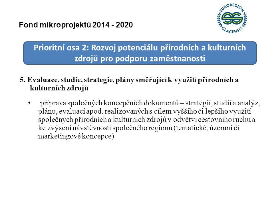 Prioritní osa 2: Rozvoj potenciálu přírodních a kulturních zdrojů pro podporu zaměstnanosti 5. Evaluace, studie, strategie, plány směřující k využití