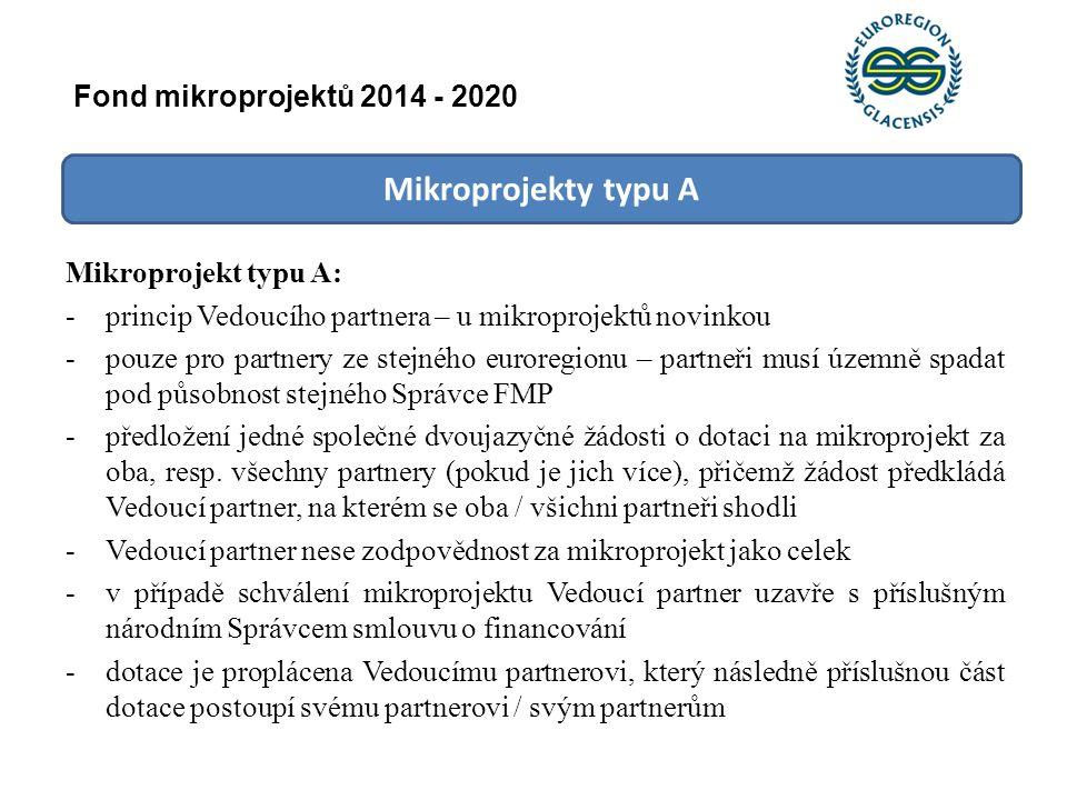 Mikroprojekty typu A Mikroprojekt typu A: -princip Vedoucího partnera – u mikroprojektů novinkou -pouze pro partnery ze stejného euroregionu – partneř