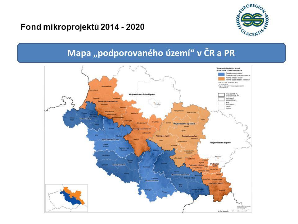 """Mapa """"podporovaného území"""" v ČR a PR Fond mikroprojektů 2014 - 2020"""