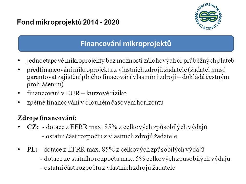 Financování mikroprojektů jednoetapové mikroprojekty bez možnosti zálohových či průběžných plateb předfinancování mikroprojektu z vlastních zdrojů žad