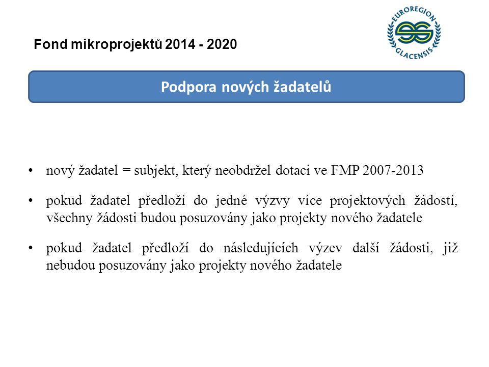 Podpora nových žadatelů nový žadatel = subjekt, který neobdržel dotaci ve FMP 2007-2013 pokud žadatel předloží do jedné výzvy více projektových žádost