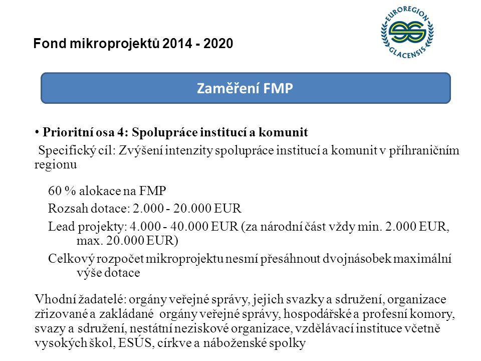 Zaměření FMP Prioritní osa 4: Spolupráce institucí a komunit Specifický cíl: Zvýšení intenzity spolupráce institucí a komunit v příhraničním regionu 6