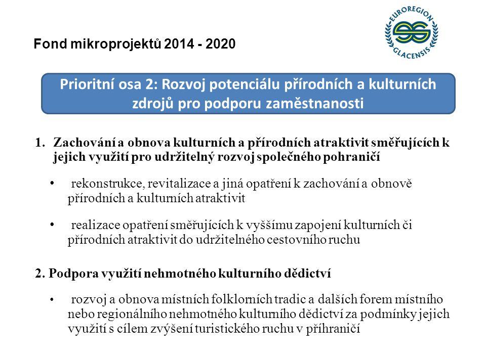 Prioritní osa 2: Rozvoj potenciálu přírodních a kulturních zdrojů pro podporu zaměstnanosti 1.Zachování a obnova kulturních a přírodních atraktivit sm