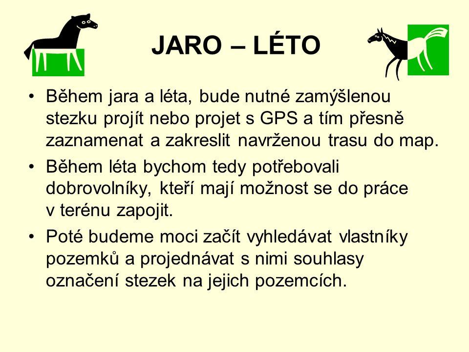 JARO – LÉTO Během jara a léta, bude nutné zamýšlenou stezku projít nebo projet s GPS a tím přesně zaznamenat a zakreslit navrženou trasu do map.
