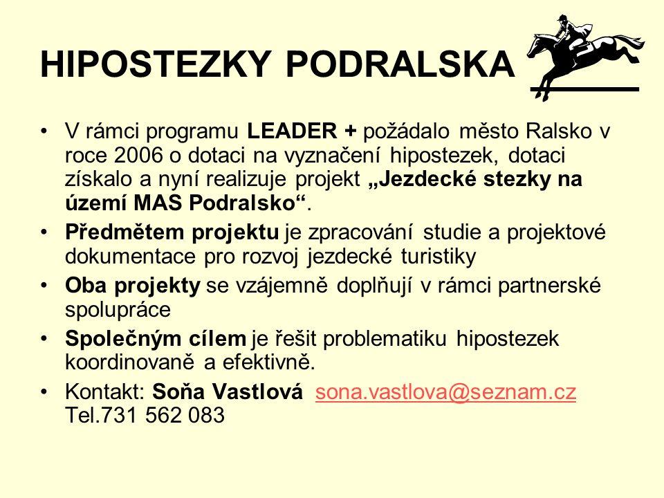 """HIPOSTEZKY PODRALSKA V rámci programu LEADER + požádalo město Ralsko v roce 2006 o dotaci na vyznačení hipostezek, dotaci získalo a nyní realizuje projekt """"Jezdecké stezky na území MAS Podralsko ."""