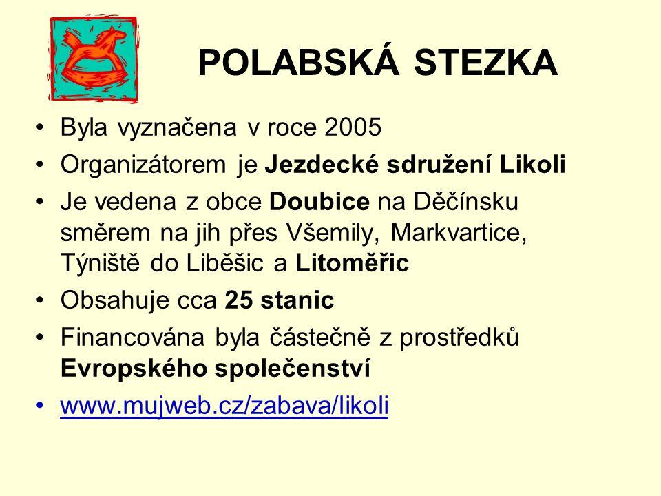 POLABSKÁ STEZKA Byla vyznačena v roce 2005 Organizátorem je Jezdecké sdružení Likoli Je vedena z obce Doubice na Děčínsku směrem na jih přes Všemily, Markvartice, Týniště do Liběšic a Litoměřic Obsahuje cca 25 stanic Financována byla částečně z prostředků Evropského společenství www.mujweb.cz/zabava/likoli