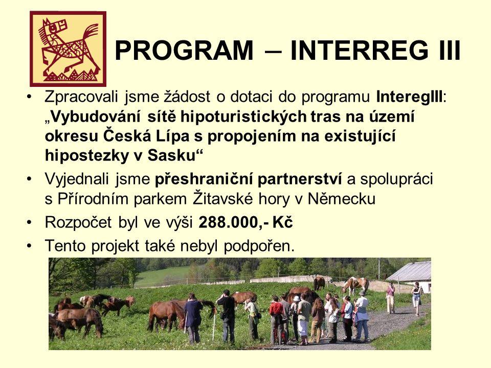 """PROGRAM – INTERREG III Zpracovali jsme žádost o dotaci do programu InteregIII: """"Vybudování sítě hipoturistických tras na území okresu Česká Lípa s propojením na existující hipostezky v Sasku Vyjednali jsme přeshraniční partnerství a spolupráci s Přírodním parkem Žitavské hory v Německu Rozpočet byl ve výši 288.000,- Kč Tento projekt také nebyl podpořen."""