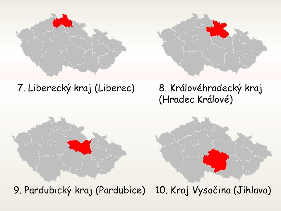 3. Jihočeský kraj (České Budějovice) 4. Plzeňský kraj (Plzeň) 5. Karlovarský kraj (Karlovy Vary) 6. Ústecký kraj (Ústí nad Labem)