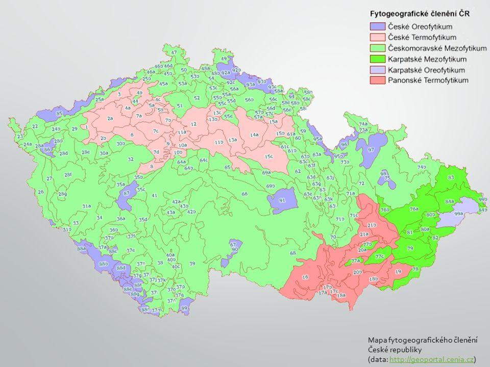 Mapa fytogeografického členění České republiky (data: http://geoportal.cenia.cz)http://geoportal.cenia.cz