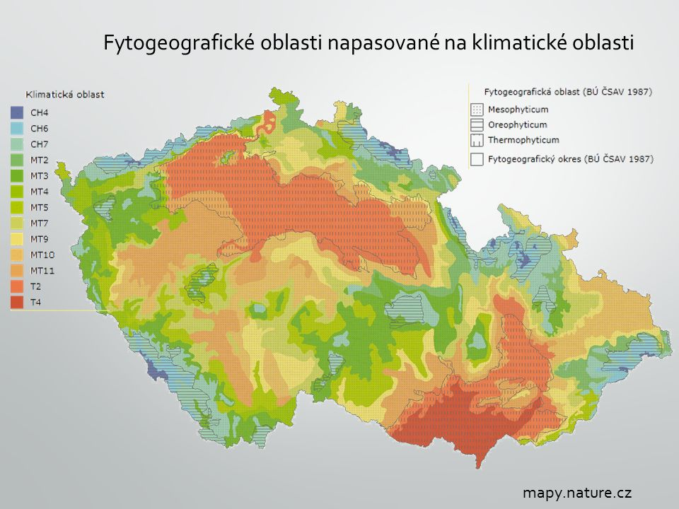 Fytogeografické oblasti napasované na klimatické oblasti mapy.nature.cz