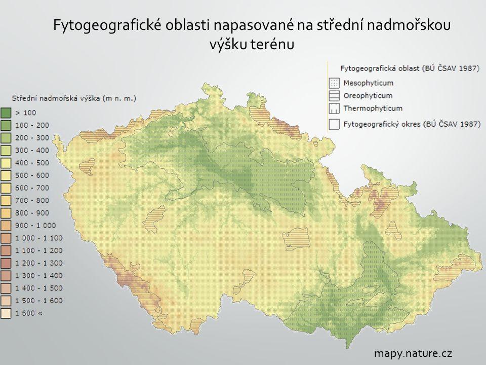 Fytogeografické oblasti napasované na střední nadmořskou výšku terénu mapy.nature.cz
