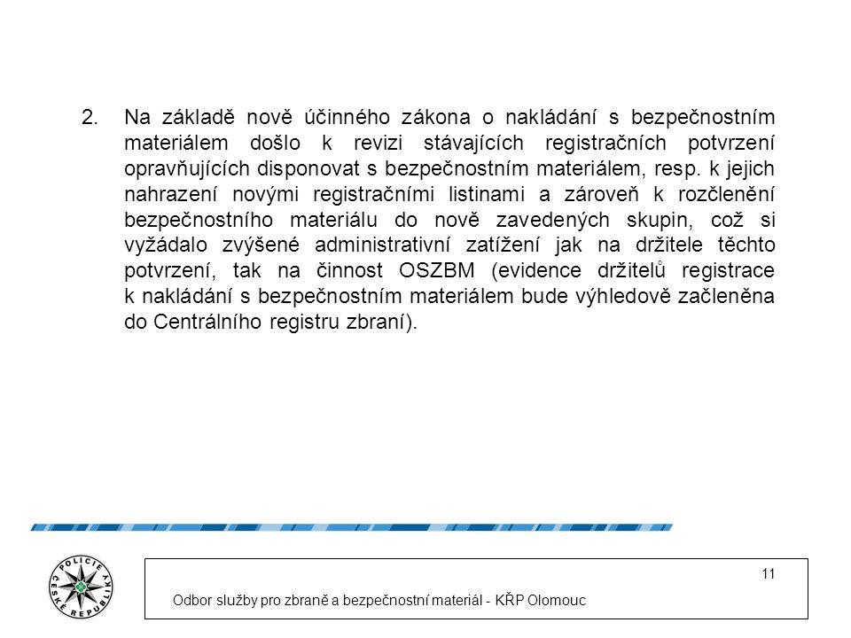 Odbor služby pro zbraně a bezpečnostní materiál - KŘP Olomouc 11 2.Na základě nově účinného zákona o nakládání s bezpečnostním materiálem došlo k revizi stávajících registračních potvrzení opravňujících disponovat s bezpečnostním materiálem, resp.