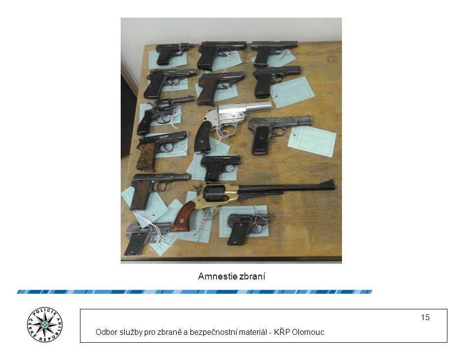 Amnestie zbraní Odbor služby pro zbraně a bezpečnostní materiál - KŘP Olomouc 15