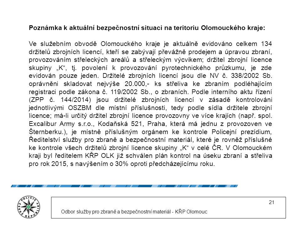 """Odbor služby pro zbraně a bezpečnostní materiál - KŘP Olomouc 21 Poznámka k aktuální bezpečnostní situaci na teritoriu Olomouckého kraje: Ve služebním obvodě Olomouckého kraje je aktuálně evidováno celkem 134 držitelů zbrojních licencí, kteří se zabývají převážně prodejem a úpravou zbraní, provozováním střeleckých areálů a střeleckým výcvikem; držitel zbrojní licence skupiny """"K , tj."""