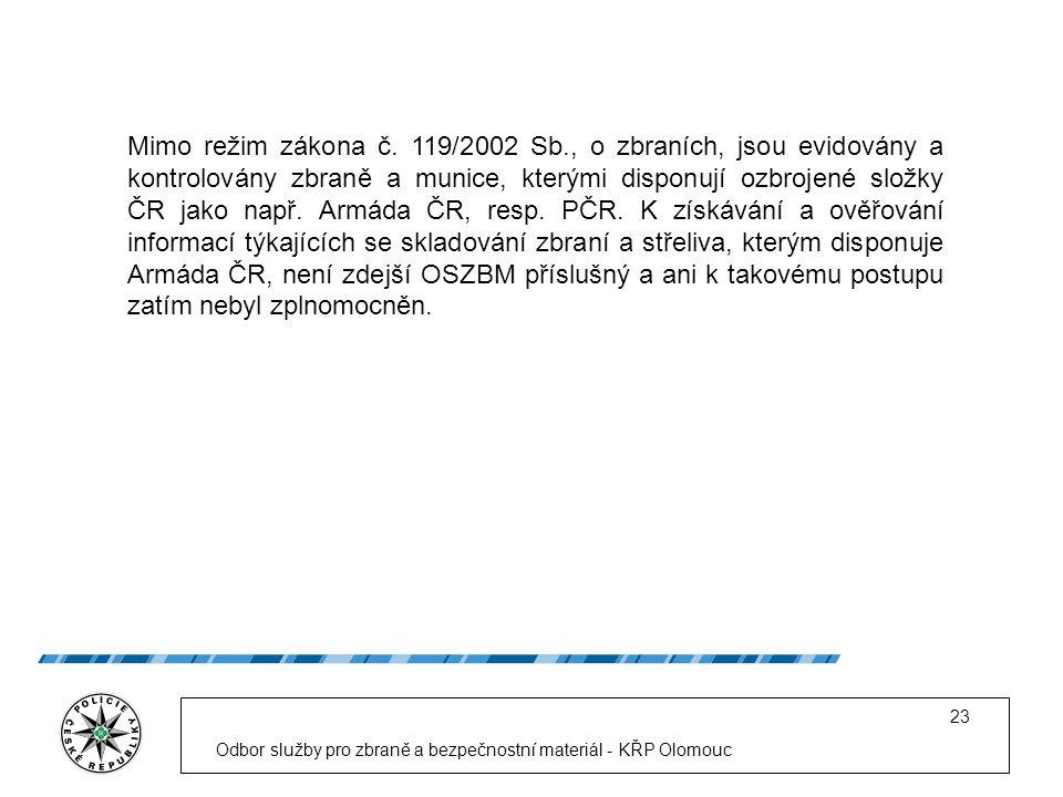 Odbor služby pro zbraně a bezpečnostní materiál - KŘP Olomouc 23 Mimo režim zákona č.