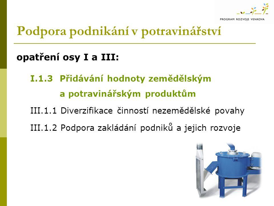 Podpora podnikání v potravinářství opatření osy I a III: I.1.3Přidávání hodnoty zemědělským a potravinářským produktům III.1.1 Diverzifikace činností