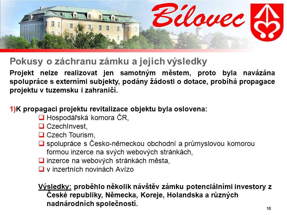 18 Pokusy o záchranu zámku a jejich výsledky Projekt nelze realizovat jen samotným městem, proto byla navázána spolupráce s externími subjekty, podány žádosti o dotace, probíhá propagace projektu v tuzemsku i zahraničí.