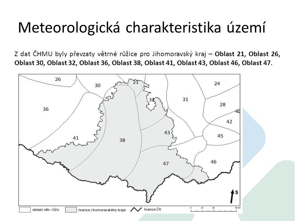 Meteorologická charakteristika území Z dat ČHMU byly převzaty větrné růžice pro Jihomoravský kraj – Oblast 21, Oblast 26, Oblast 30, Oblast 32, Oblast 36, Oblast 38, Oblast 41, Oblast 43, Oblast 46, Oblast 47.
