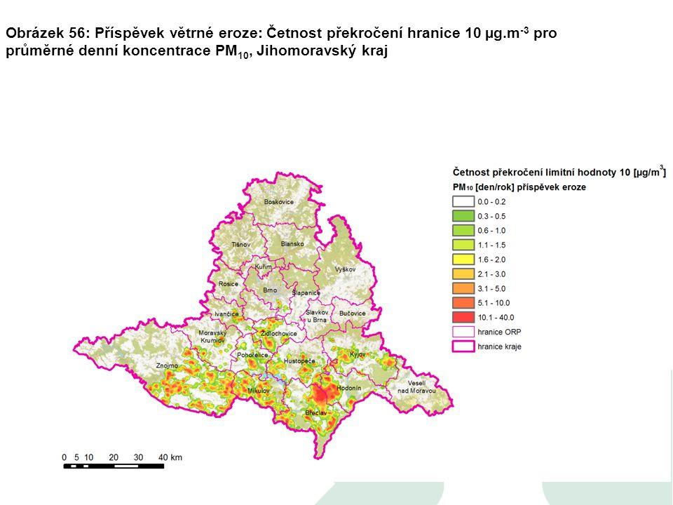 Obrázek 56: Příspěvek větrné eroze: Četnost překročení hranice 10 µg.m -3 pro průměrné denní koncentrace PM 10, Jihomoravský kraj
