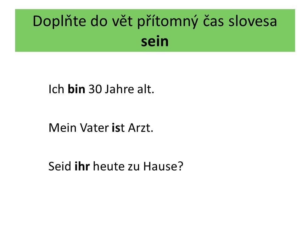 Doplňte do vět přítomný čas slovesa sein Ich bin 30 Jahre alt.
