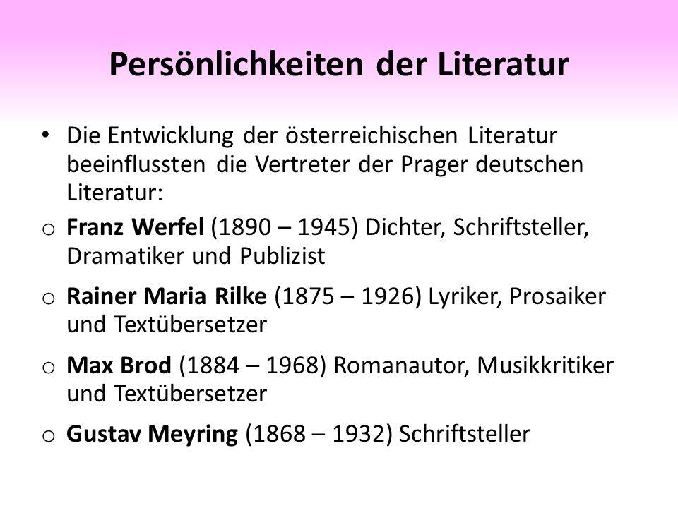 Persönlichkeiten der Literatur o Franz Kafka (1883 – 1924) bekannt v.