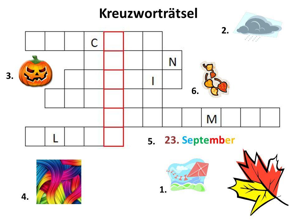 Kreuzworträtsel 2. 1. 6. 4. 3. 23. September 5.