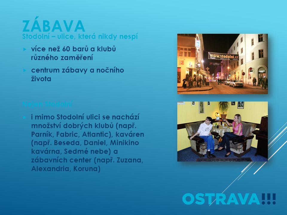 ZÁBAVA Stodolní – ulice, která nikdy nespí  více než 60 barů a klubů různého zaměření  centrum zábavy a nočního života Nejen Stodolní  i mimo Stodolní ulici se nachází množství dobrých klubů (např.