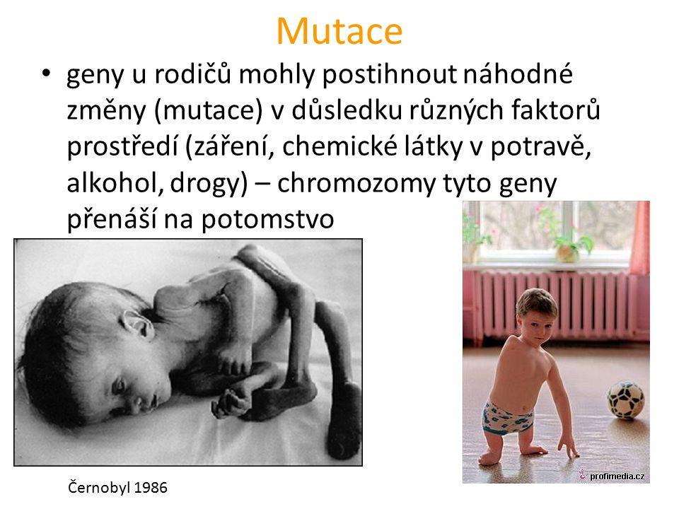 Mutace geny u rodičů mohly postihnout náhodné změny (mutace) v důsledku různých faktorů prostředí (záření, chemické látky v potravě, alkohol, drogy) – chromozomy tyto geny přenáší na potomstvo Černobyl 1986