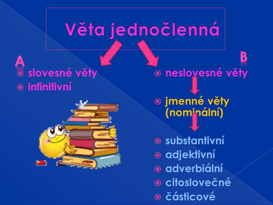  větný obsah můžeme vyjádřit jen jedním základním členem = nemají základní skladebnou dvojici = není to ani podmět, ani přísudek = říkáme mu základní větný člen věty jednočlenné  člen je holý nebo rozvitý  a) slovesné věty : základem je slovesný tvar určitý - vyjadřují přírodní jevy – Sněží.