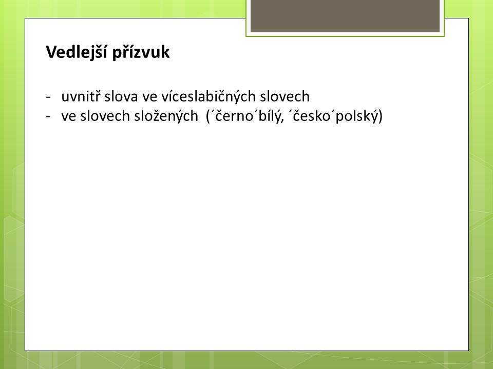 Vedlejší přízvuk -uvnitř slova ve víceslabičných slovech -ve slovech složených (´černo´bílý, ´česko´polský)
