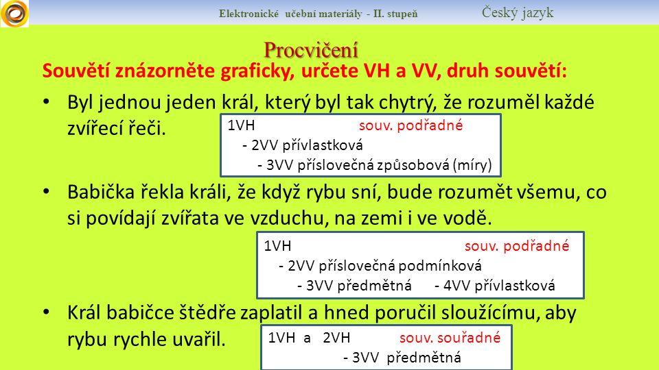 Procvičení Elektronické učební materiály - II. stupeň Český jazyk Souvětí znázorněte graficky, určete VH a VV, druh souvětí: Byl jednou jeden král, kt