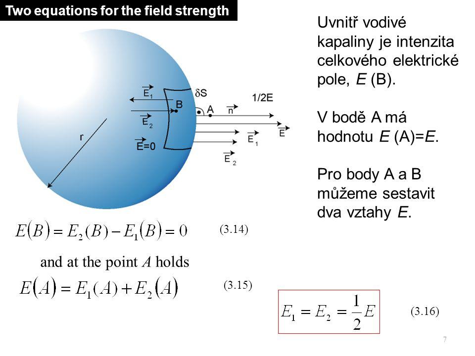 Použití Gaussovy věty elektrostatické v blízkosti elementu povrchu, dS, vede k následujícímu vztahu.