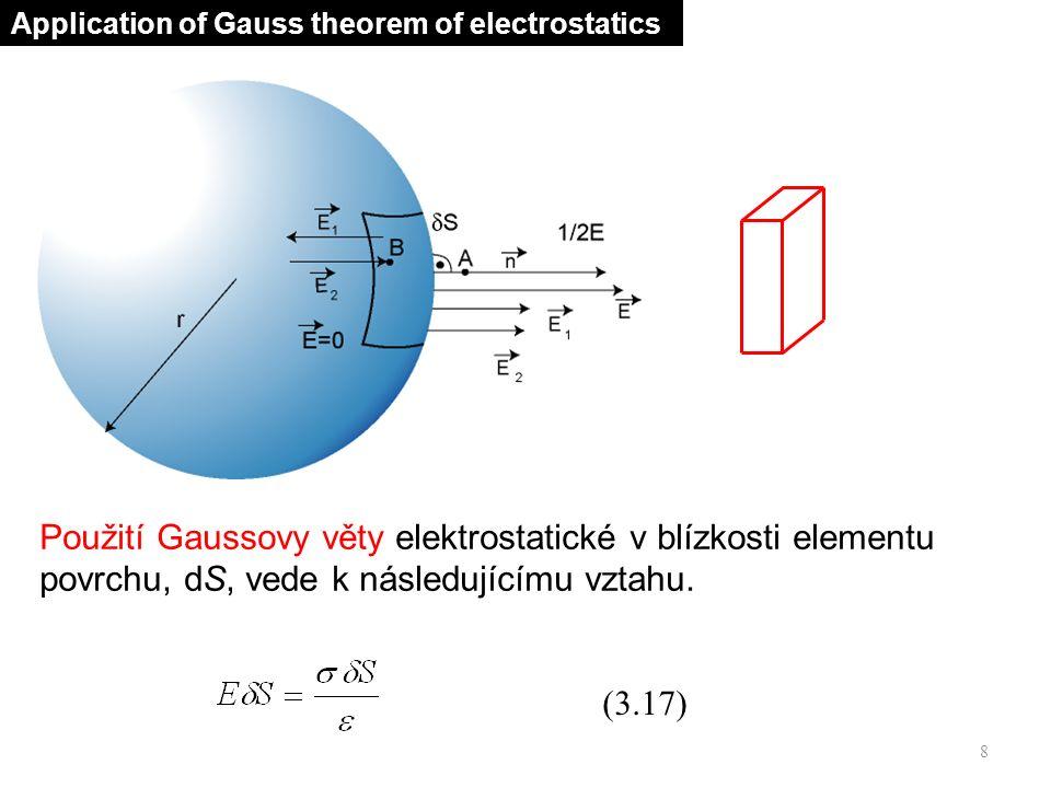 (3.19) 9 Electric pressure Hustota povrchového náboje Gaussova věta