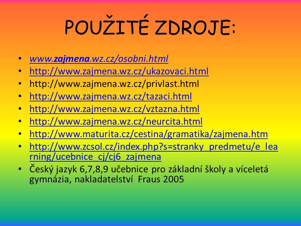 POUŽITÉ ZDROJE: www.zajmena.wz.cz/osobni.html www.zajmena.wz.cz/osobni.html http://www.zajmena.wz.cz/ukazovaci.html http://www.zajmena.wz.cz/privlast.html http://www.zajmena.wz.cz/tazaci.html http://www.zajmena.wz.cz/vztazna.html http://www.zajmena.wz.cz/neurcita.html http://www.maturita.cz/cestina/gramatika/zajmena.htm http://www.zcsol.cz/index.php s=stranky_predmetu/e_lea rning/ucebnice_cj/cj6_zajmena http://www.zcsol.cz/index.php s=stranky_predmetu/e_lea rning/ucebnice_cj/cj6_zajmena Český jazyk 6,7,8,9 učebnice pro základní školy a víceletá gymnázia, nakladatelství Fraus 2005