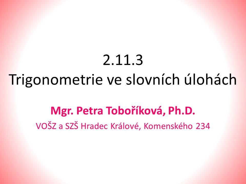 2.11.3 Trigonometrie ve slovních úlohách Mgr. Petra Toboříková, Ph.D. VOŠZ a SZŠ Hradec Králové, Komenského 234