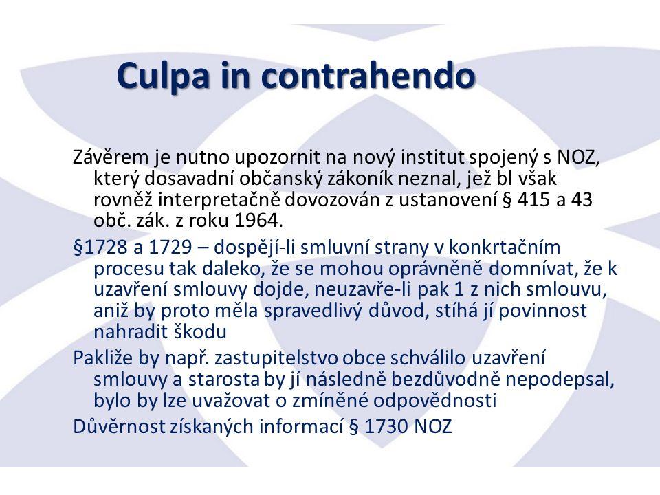 Závěrem je nutno upozornit na nový institut spojený s NOZ, který dosavadní občanský zákoník neznal, jež bl však rovněž interpretačně dovozován z ustanovení § 415 a 43 obč.